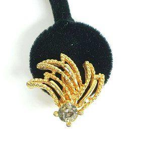 Vintage Gold Tone Swirl Rhinestone Earrings Clip